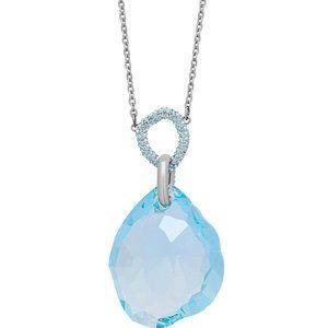 SWAROVSKI - Rhodium-Plated, Blue Crystal Necklace